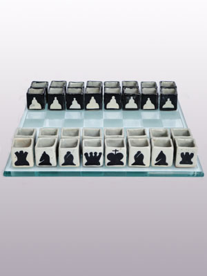 MEXICAN GLASSWARE / Ceramic Tequila shots drinking chess set